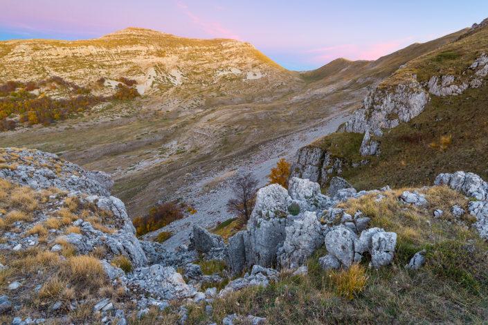 Panorama al crepuscolo sul Monte Puzzillo