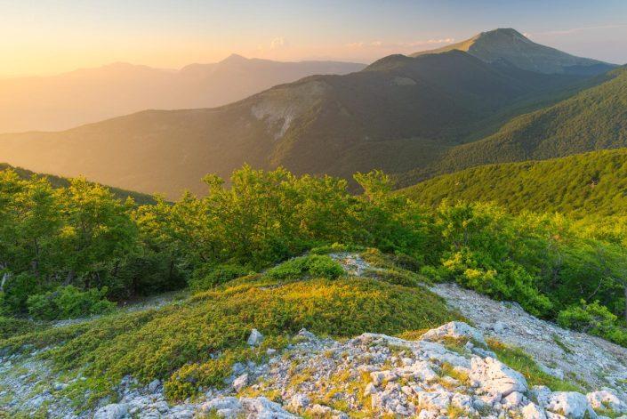 Tramonto estivo sulle cime del Parco Naturale dei Monti Simbruini