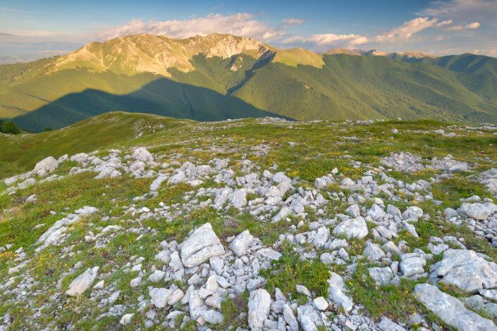 Panorama sui Cantari al tramonto - Monti Simbruini